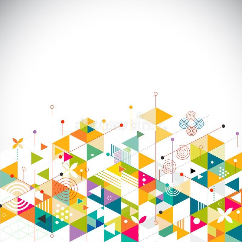 Calibre géométrique coloré et créatif abstrait sur le fond pour l'entreprise ou le media constitué en société, le vecteur et l'il illustration libre de droits