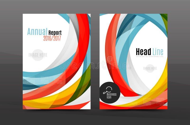 Calibre géométrique d'impression des affaires A4 de fond abstrait de vagues de couleur illustration libre de droits