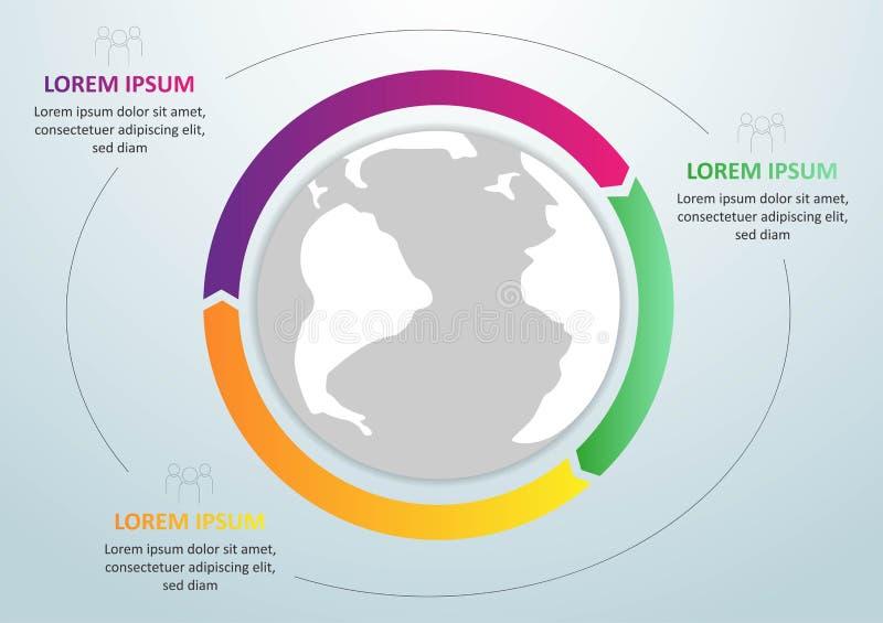 Calibre global d'infographics moderne pour 3 options Vecteur Peut être employé pour la disposition de déroulement des opérations, illustration libre de droits