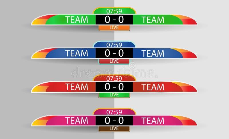 Calibre graphique de tableau indicateur d'écran vivant de Digital pour la radiodiffusion du football, du football ou de futsal, c illustration stock