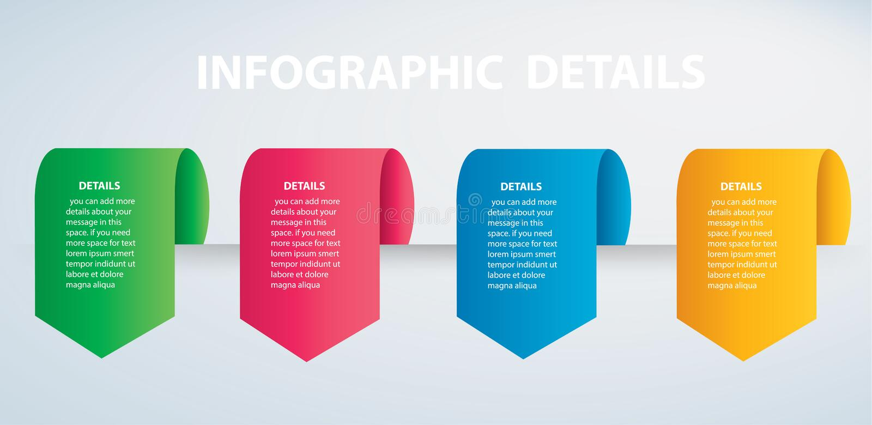 Calibre graphique de vecteur d'infos carrées avec 4 options Peut être employé pour le Web, diagramme, graphique, présentation, di illustration de vecteur