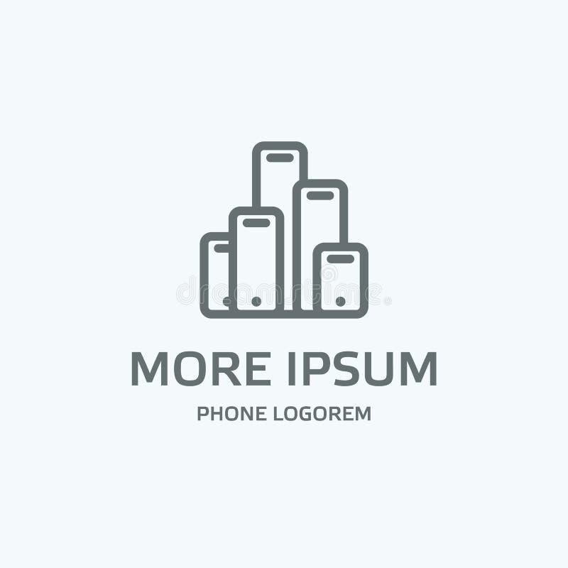 Calibre gris de logo de téléphone La ligne téléphones ressemblent aux contours d'une ville illustration stock