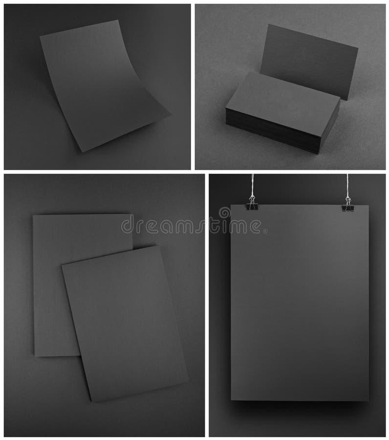 Calibre gris vide de maquette de papeterie sur le fond gris illustration de vecteur
