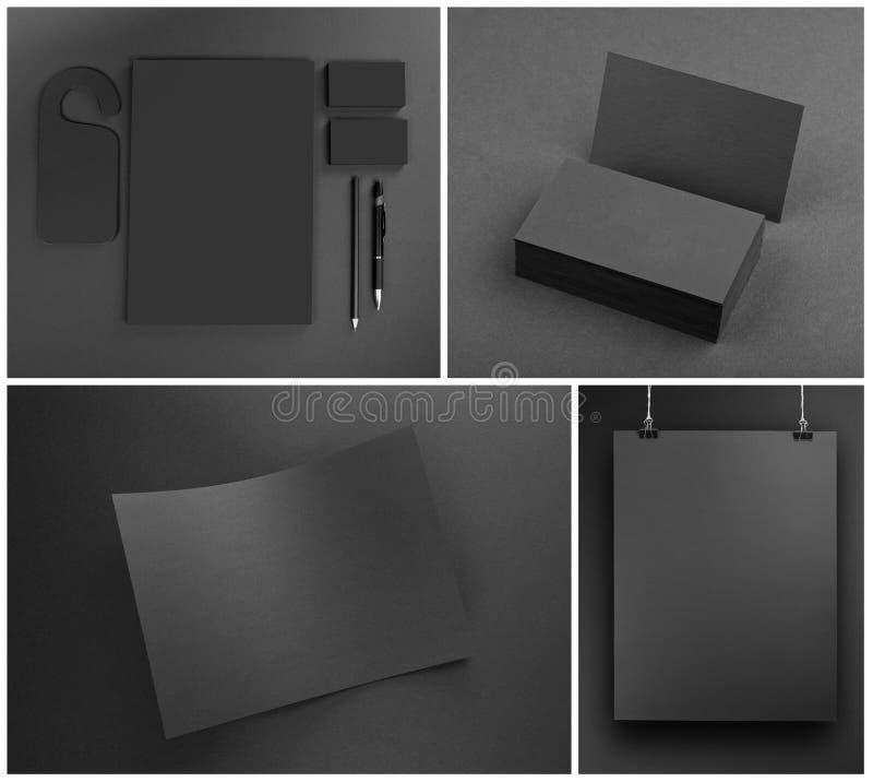 Calibre gris vide de maquette de papeterie sur le fond gris photos stock