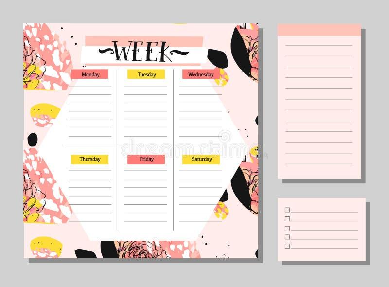 Calibre hebdomadaire et quotidien scandinave de planificateur Organisateur et programme avec des notes et pour faire le vecteur d illustration de vecteur