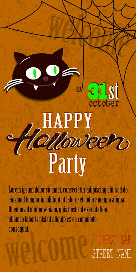 Calibre heureux de carte d'invitation de Halloween avec de la toile d'araignée et le texte illustration stock