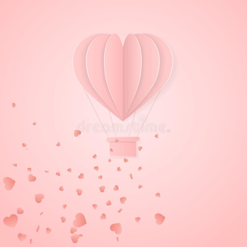 Calibre heureux de carte d'invitation de jour de valentines le rétro avec l'origami empaquettent le ballon à air chaud dans la fo illustration de vecteur