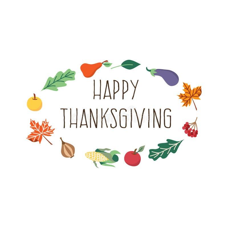 Calibre heureux de carte de thanksgiving de vecteur d'isolement illustration stock