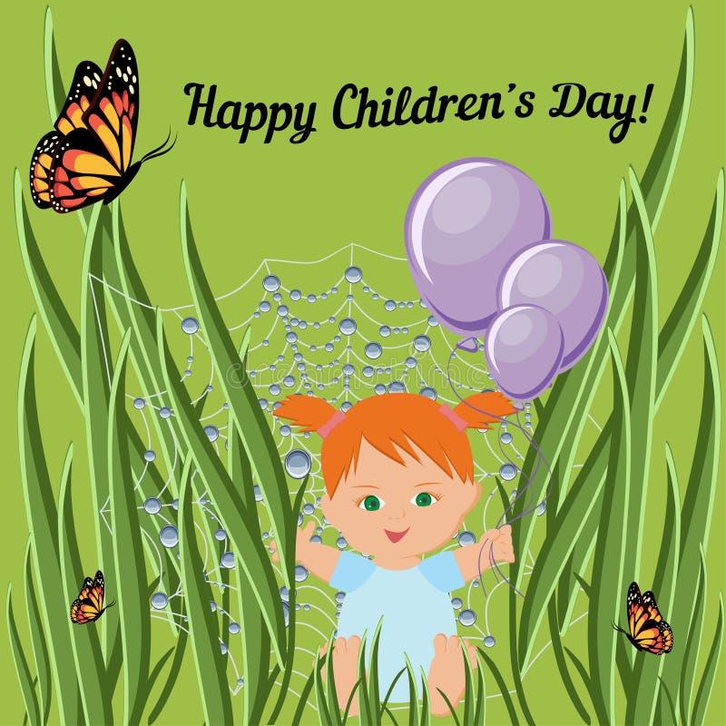 Calibre heureux de carte de voeux de jour d'enfants avec la fille rouge d'enfant en bas âge de cheveux s'asseyant sur l'herbe et  illustration de vecteur