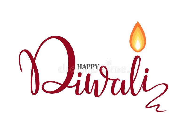 Calibre heureux de conception de papier peint de lettrage de Diwali illustration de brûler la lampe à pétrole de diya de Diwali p illustration libre de droits