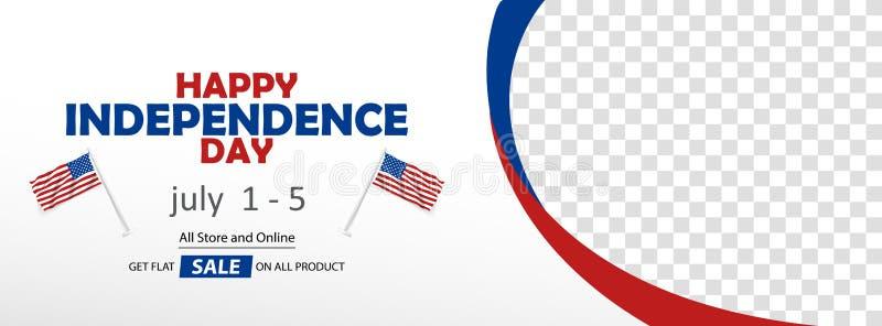 Calibre heureux de vecteur de couverture de bannière de vente de Jour de la Déclaration d'Indépendance des Etats-Unis illustration stock