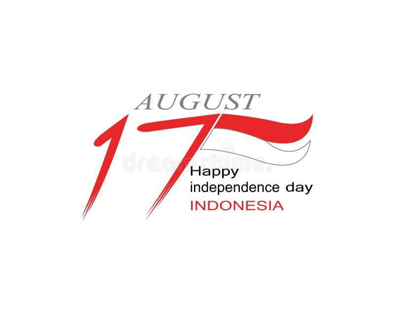 Calibre heureux de vecteur de logo de l'Indonésie de Jour de la Déclaration d'Indépendance illustration libre de droits