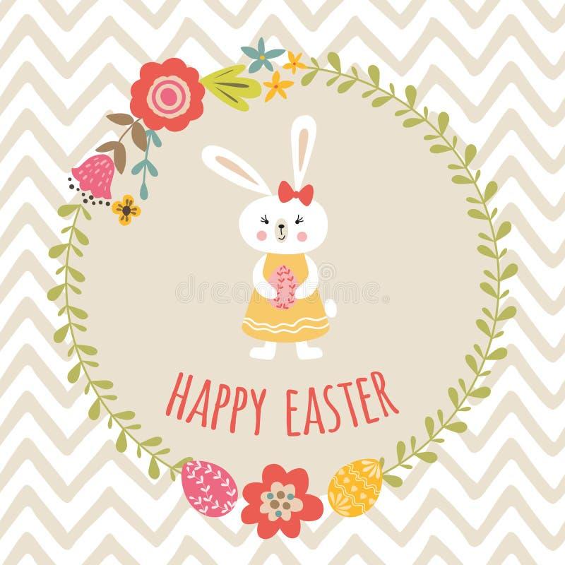 Calibre heureux mignon de Pâques avec la bannière typographique de style d'enfants de conception de guirlande d'oeufs de lapin fl illustration libre de droits