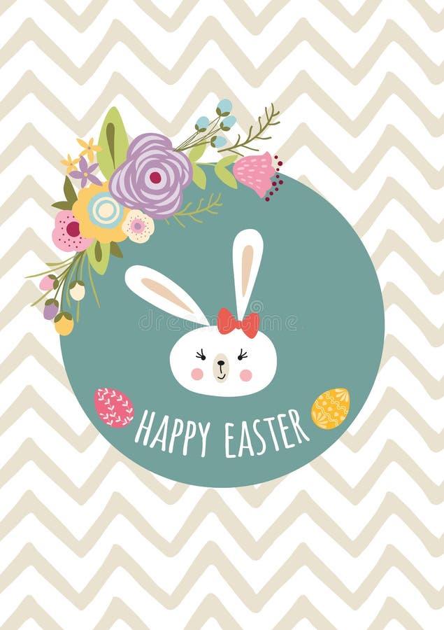 Calibre heureux tiré par la main de Pâques avec la bannière typographique de style d'enfants de conception de guirlande d'oeufs d illustration de vecteur