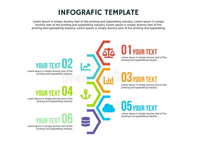 Calibre hexagonal et PowerPoint d'Infographic polychromes illustration de vecteur