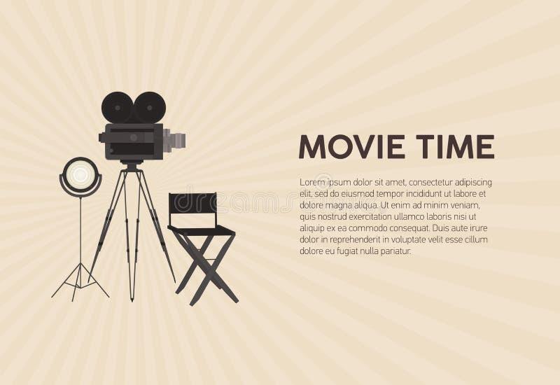 Calibre horizontal d'affiche pour le festival de film avec le rétro appareil-photo de film se tenant sur le trépied, la lampe de  illustration de vecteur