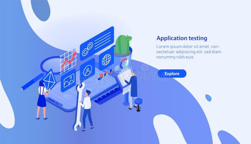 Calibre horizontal moderne de bannière avec le smartphone géant et les personnes minuscules travaillant autour Essai mobile d'app illustration stock