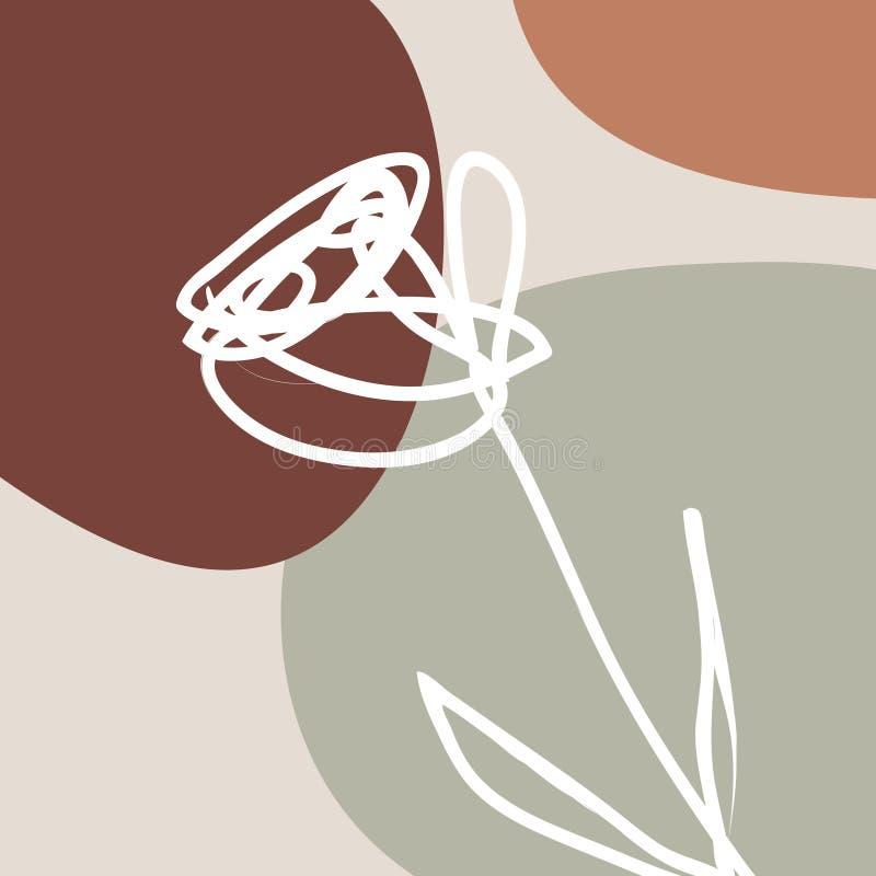 Calibre imprimable avec des formes géométriques abstraites, texture de nature, tons chauds en pastel Type scandinave Agrafe art illustration stock