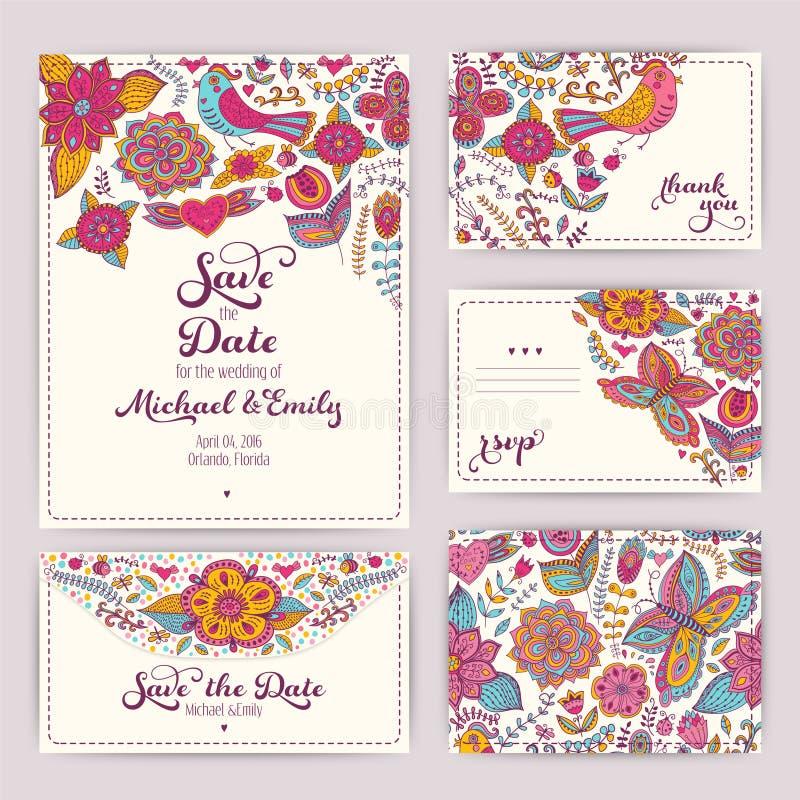 Calibre imprimable d'invitation de mariage : invitation, enveloppe, Th illustration de vecteur