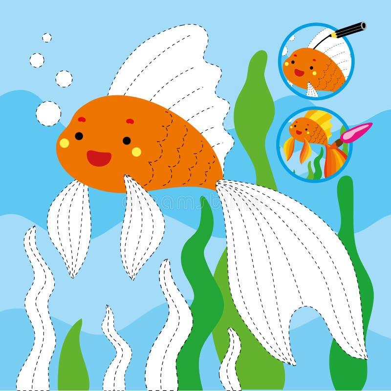 Calibre imprimable de dessin de poissons d'instruction d'or de jeu illustration libre de droits