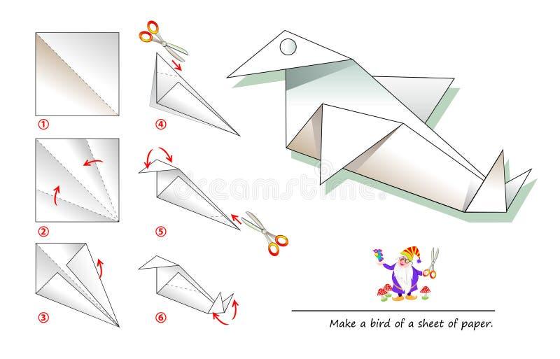 Calibre imprimable pour des enfants avec des instructions pour l'origami de papier se pliant de jeu En employant des ciseaux fait illustration de vecteur