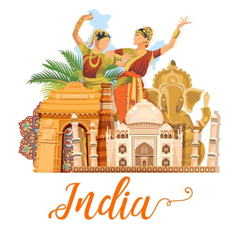 Calibre indien de voyage sur le fond blanc J'aime l'Inde Illustration de vecteur dans le type de cru illustration de vecteur