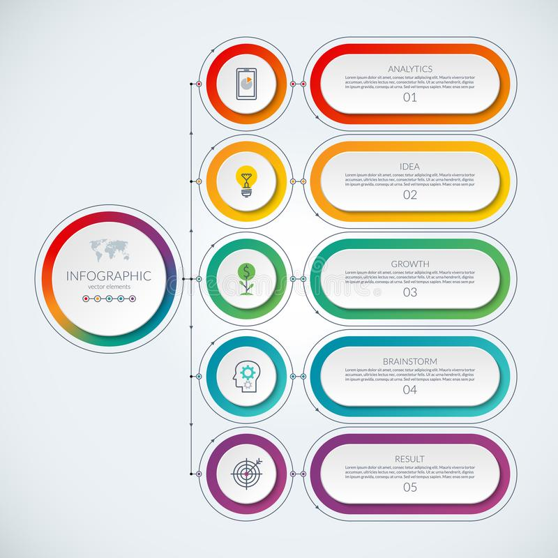 Calibre infographic abstrait avec 5 options illustration libre de droits