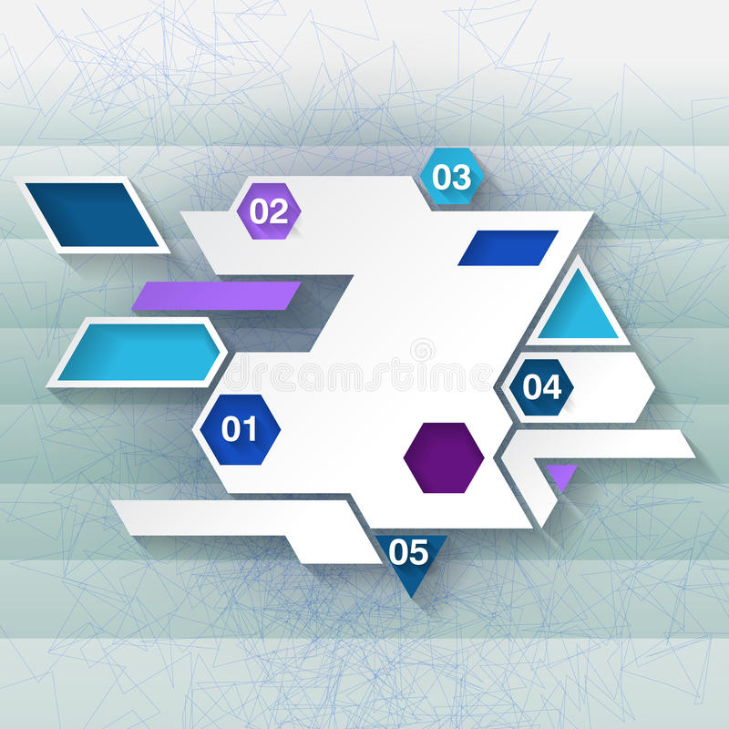 Calibre infographic bleu et blanc avec des hexagones illustration de vecteur