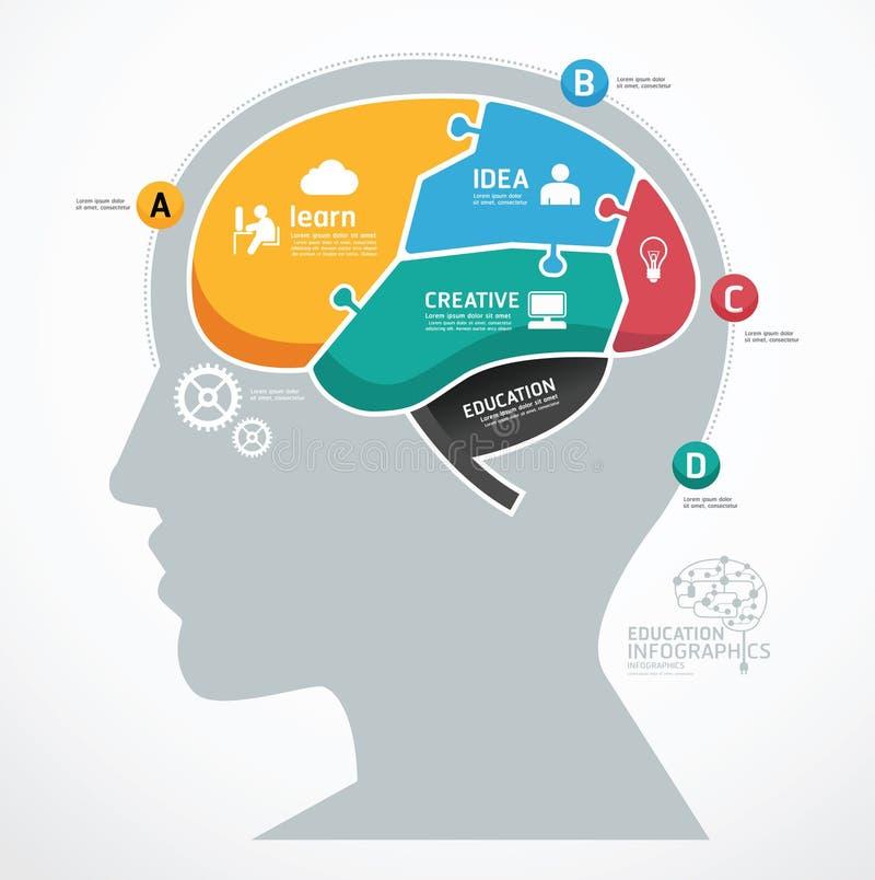 Calibre infographic d'esprit humain abstrait denteux de puzzle. concept illustration de vecteur