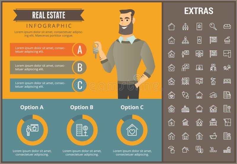 Calibre infographic d'immobiliers, éléments, icônes illustration de vecteur