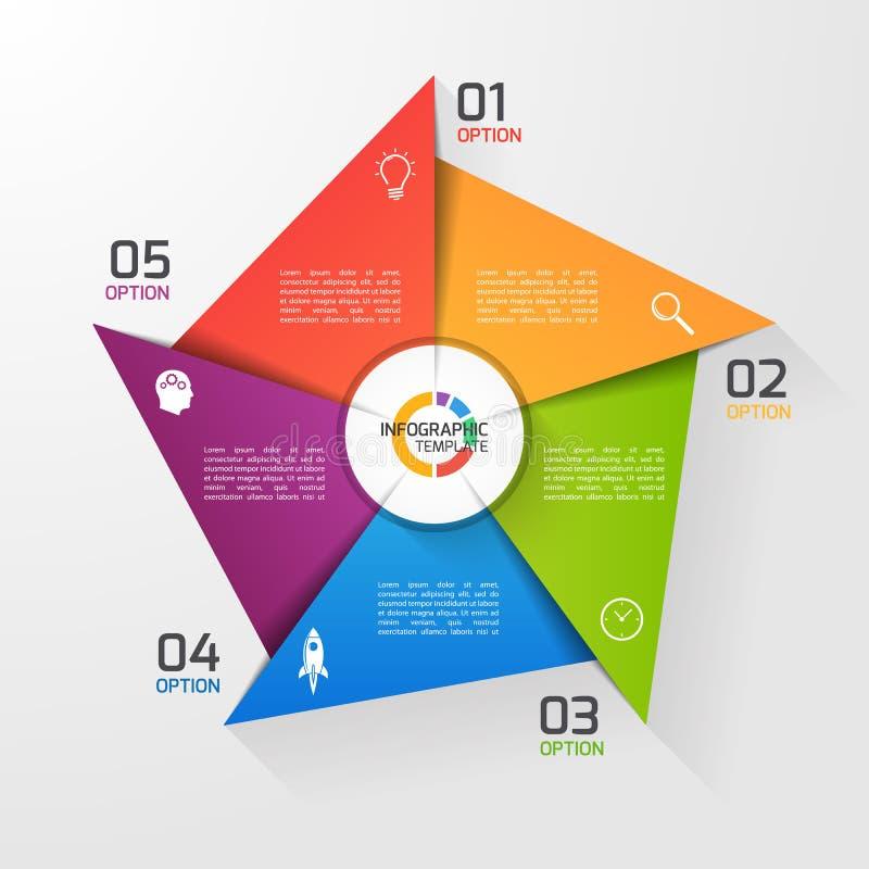 Calibre infographic de cercle de style de moulin à vent pour des graphiques, diagrammes illustration libre de droits