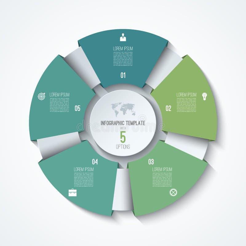 Calibre infographic de cercle Roue de processus Graphique circulaire de vecteur illustration stock