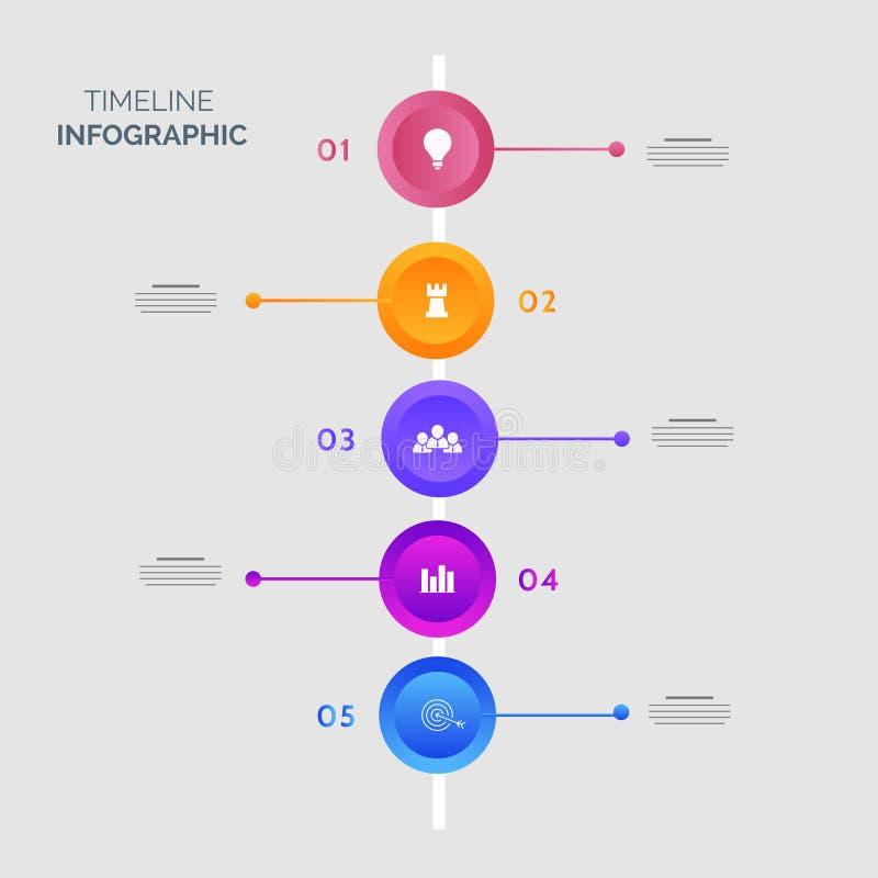 Calibre infographic de chronologie colorée de cinq étapes illustration stock