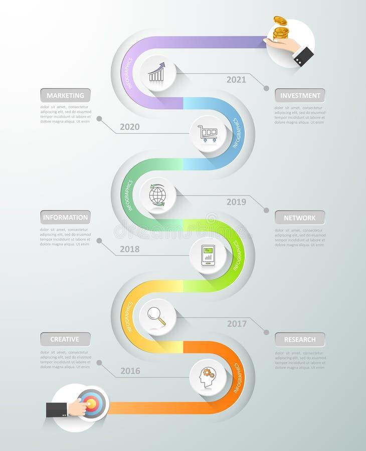 Calibre infographic de chronologie de conception Options du concept 6 d'affaires illustration de vecteur