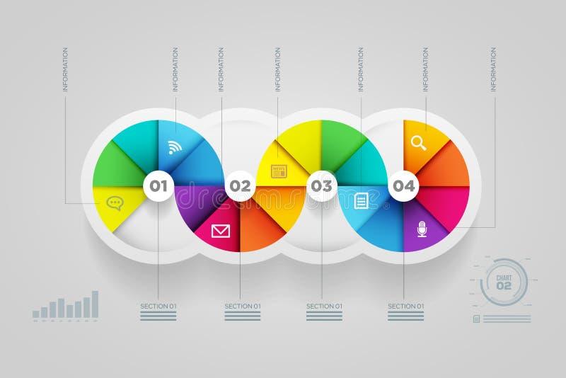 Calibre infographic de conception de forme de cercle. illustration de vecteur