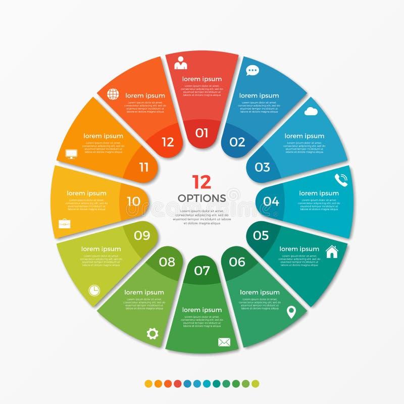 Calibre infographic de diagramme de cercle avec 12 options illustration stock