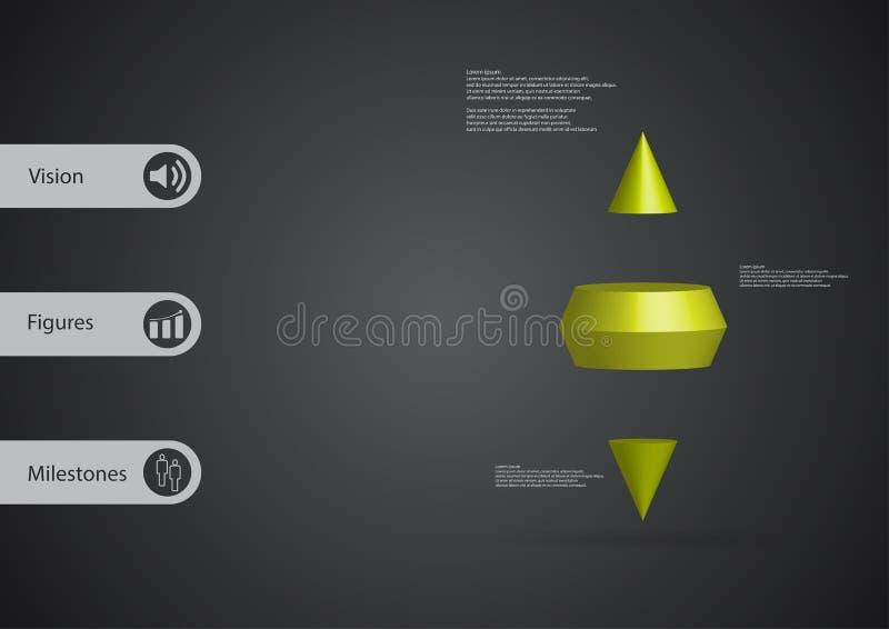 calibre infographic de l'illustration 3D avec le cône de deux transitoires horizontalement divisé à trois tranches vertes illustration de vecteur