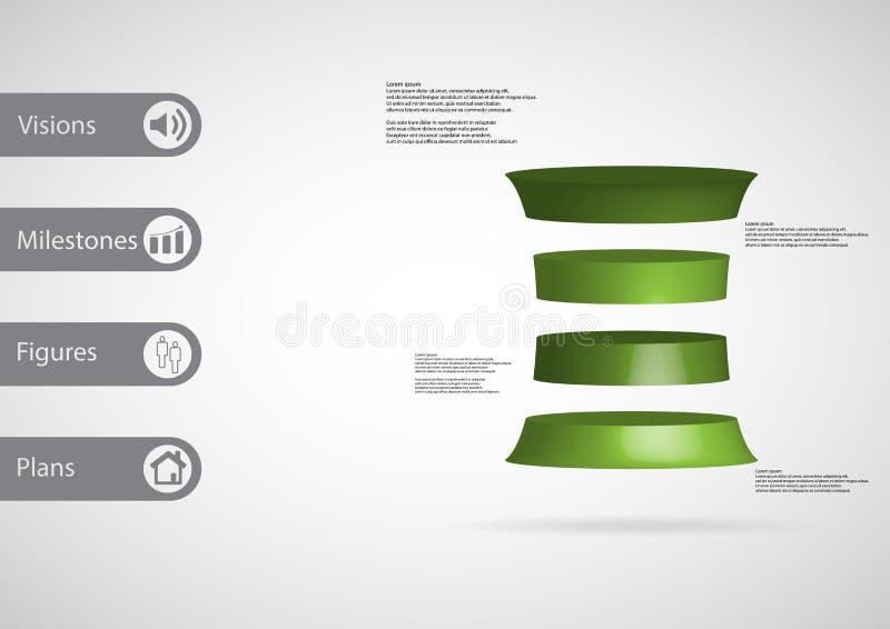 calibre infographic de l'illustration 3D avec le cylindre déformé horizontalement divisé à quatre tranches vertes illustration libre de droits