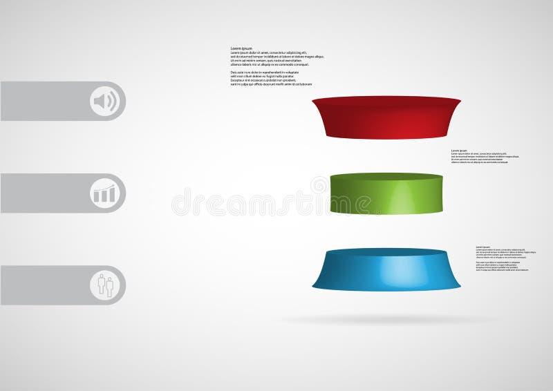calibre infographic de l'illustration 3D avec le cylindre déformé horizontalement divisé à trois tranches de couleur illustration libre de droits