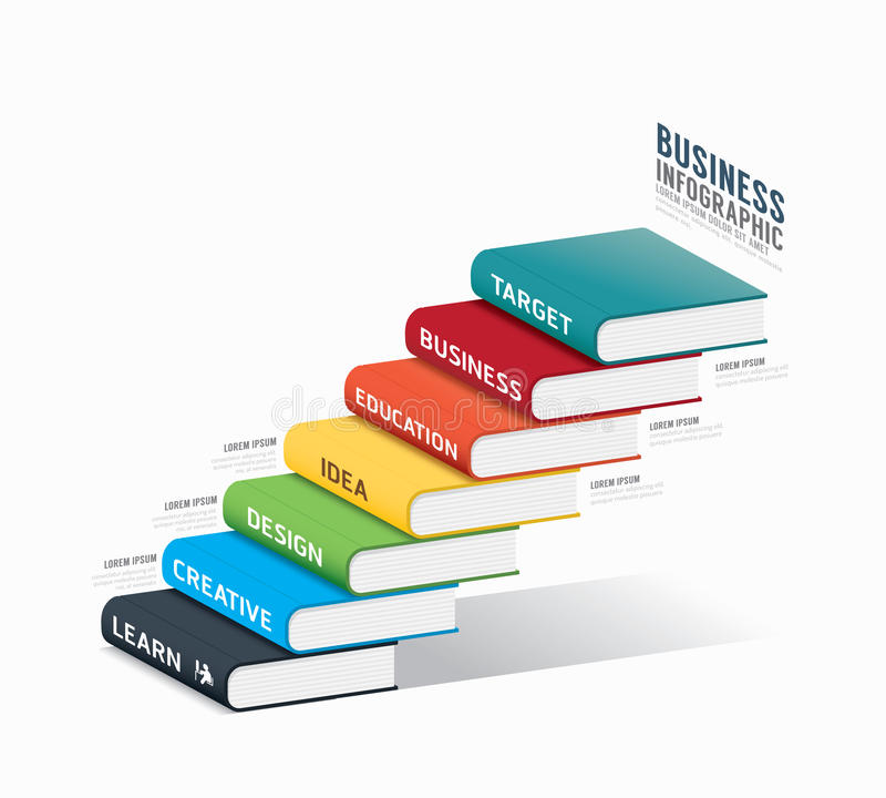 Calibre infographic de livre de vecteur vecteur de concept de réussite commerciale illustration de vecteur
