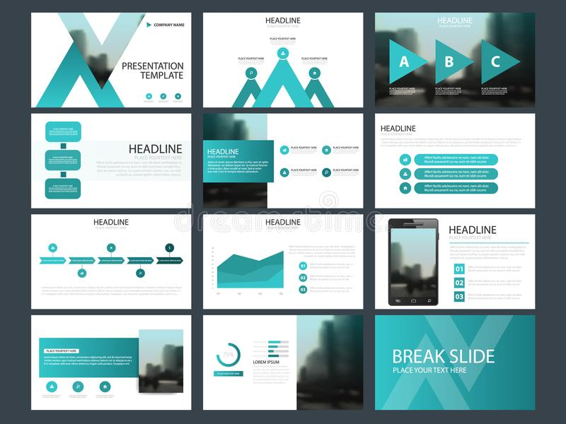 Calibre infographic de présentation d'éléments de paquet bleu rapport annuel d'affaires, brochure, tract, insecte de publicité, illustration libre de droits
