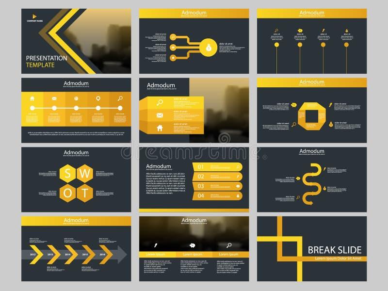 Calibre infographic de présentation d'éléments de paquet jaune de triangle rapport annuel d'affaires, brochure, tract, insecte de illustration libre de droits