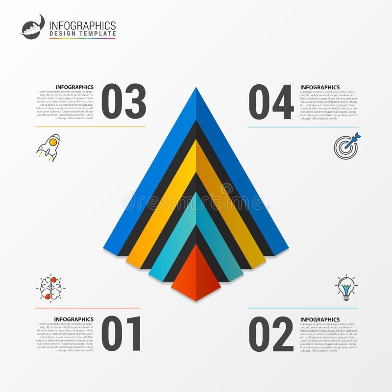 Calibre infographic de pyramide avec quatre étapes Vecteur illustration libre de droits