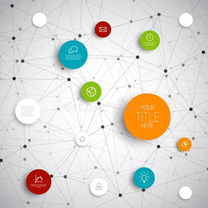 Calibre infographic de réseau de cercles abstraits de vecteur illustration de vecteur
