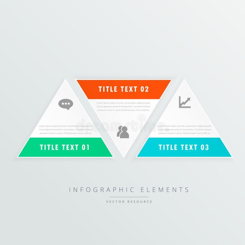 Calibre infographic de trois formes de triangle avec des icônes d'affaires illustration stock