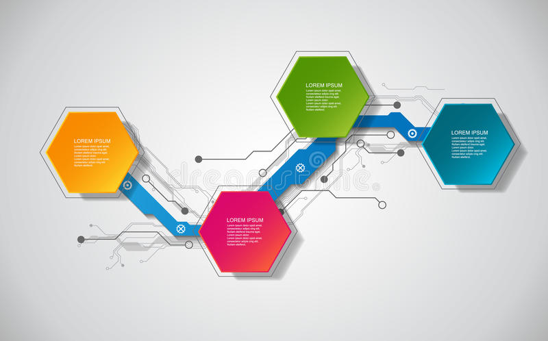 Calibre infographic de vecteur avec le label du papier 3D, cercles intégrés Peut être employé pour la disposition de déroulement  illustration stock