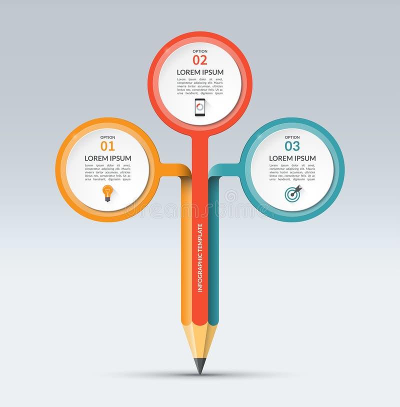 Calibre infographic de vecteur avec 3 options illustration libre de droits