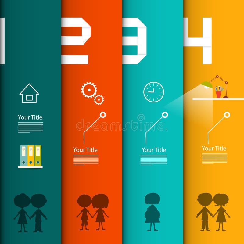 Calibre infographic de vecteur Infographics de quatre étapes illustration de vecteur