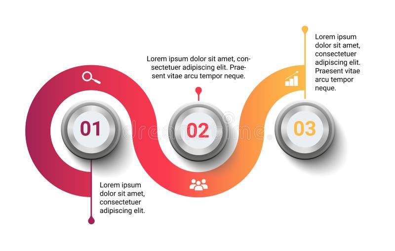 Calibre infographic de vecteur moderne avec trois étapes ou options d'isolement sur le fond blanc illustration libre de droits