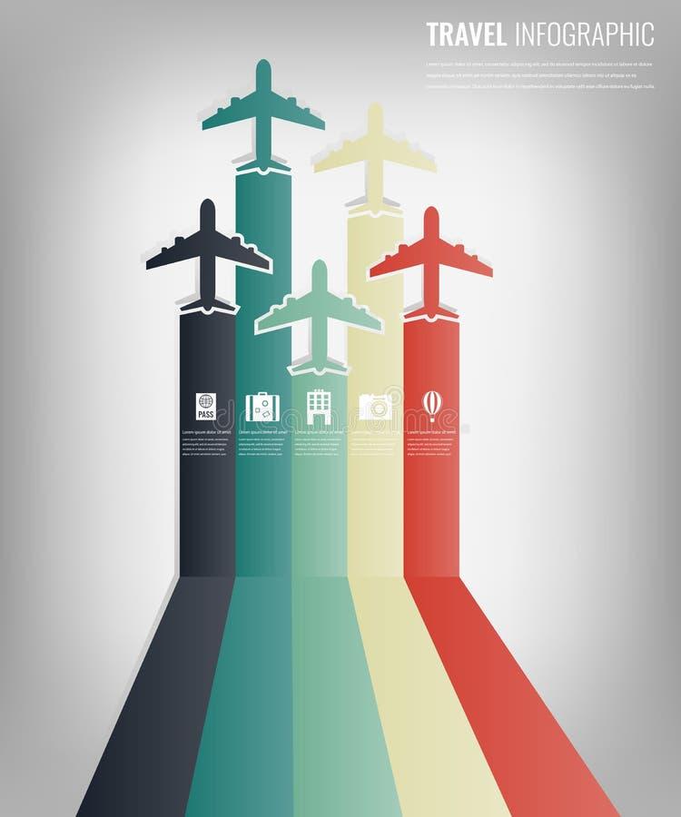 Calibre infographic de voyage avec les avions colorés Conception plate Vecteur illustration stock